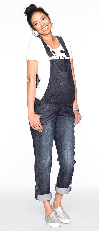 Salopette de grossesse en jean bleu foncé BONPRIX