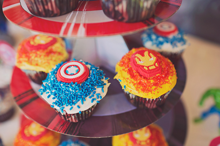 Captain America and Iron Man cupcake decorations
