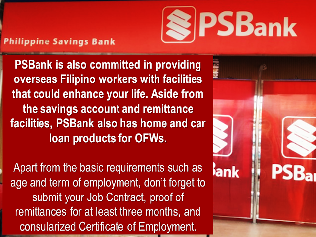 "Bangko Sentral ng Pilipinas (BSP) data shows that  Overseas Filipino Workers remittances in 2017 amounted to $ 25.318 billion. Being called as ""modern heroes"", OFWs continue to keep the Philippine economy afloat while providing the needs of theitr family back home.   The government has formulated and implement different programs and assistance for them through OWWA and other government entities as an appreciation for what their sector has been doing for the nation .  Aside from government efforts to help the OFW, there are private financial institutions that offer loan packages specifically designedn for OFWs.     Could it be a business loan, a personal loan, housing loan, or car loan, these banks are willing to extend their arms and reach the OFWs:  1. Bank of the Philippine Islands (BPI)  BPI offers variety of loan facilities for both land-based and sea-based migrant workers. This includes Personal Loan up to P1 million, Housing Loan, and Auto Loan designed for OFWS.  To apply, you must be a Filipino citizen and 21 years old and above and not more than 60 years at the time of loan maturity. You must also submit government-issued IDs and your latest and unexpired POEA contract or current employment contract with boarding date.  Visit www.bpiloans.com to apply online.   2. BDO Unibank (BDO)  BDO established the Asenso Kabayan Program to provide financial assistance to OFWs who wish to apply for a home, auto, or personal loan.  BDO bank loan requirements are: borrower must be at least 25 years old but not more than 65 years by the time your loan matures and employed for at least two and three years for skilled workers and domestic helpers, respectively.  You can also download BDO application form for loan on their website, www.bdo.com.ph  3. Chinabank   Chinabank offers Overseas Kababayan Services, which provides secure, reliable, and competitive products that allow you to manage your remittances, investments, and personal needs. This includes home loan, car loan, and personal loans as well.  To apply for China Bank OFW loan, requirements include age of borrower between 21 and 65 years old upon maturity of loan and should not have any adverse credit findings like unpaid loans, cancelled credit cards, or bouncing checks among others.  Visit www.chinabank.ph for more information about their loan facilities.    Sponsored Links    4. Philippine National Bank (PNB)   ""You First"" is PNB's tagline. True to its promise, PNB came up with Global Filipino program for OFWs. They offer auto loan and home loan for your family and avail of any of the facilities even when you are working overseas through their branches outside the Philippines.  Similar to other banks, you must be at least 21 years old to avail of any of the loan facilities and must not exceed 65 years old at the time of maturity. You must also be working abroad for at least two years to qualify.  Know more about PNB's Global Filipino program here.  5. Philippine Savings Bank (PSBank)  PSBank is also committed in providing overseas Filipino workers with facilities that could enhance your life. Aside from the savings account and remittance facilities, PSBank also has home and car loan products for OFWs.  Apart from the basic requirements such as age and term of employment, don't forget to submit your Job Contract, proof of remittances for at least three months, and consularized Certificate of Employment.  Check out PSBank's loan facilities in their website.  6. RCBC Savings Bank (RCBC)   Whether it is a housing loan, car loan, personal loan, or a loan to help you start your business, RCBC got you covered. They provide flexible terms as well to make payment easier and more convenient for you.  You can learn more about RCBC's consumer loans by checking out their website.  Check the loan facilities offered by various banks and ask about their interest rates and payment terms to help you decide which bank is the best one for you.    Read More:  Mortgage Loan: What You Need To Know Passport on Wheels (POW) of DFA Starts With 4 Buses To Process 2000 Applicants Daily  Did You Apply for OFW ID and Did You Receive This Email?    Jobs Abroad Bound For Korea For As Much As P60k Salary    Command Center For OFWs To Be Established Soon   ©2018 THOUGHTSKOTO  www.jbsolis.com   SEARCH JBSOLIS, TYPE KEYWORDS and TITLE OF ARTICLE at the box below"