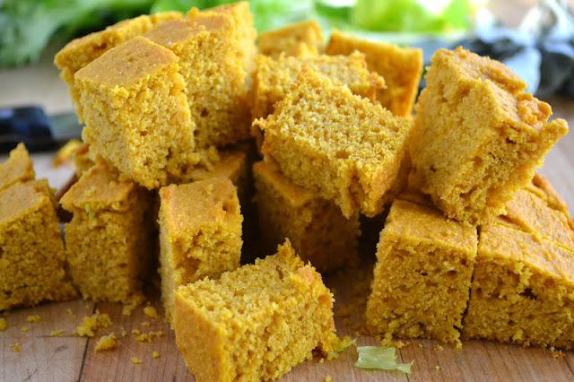 Cubed pumpkin cornbread.