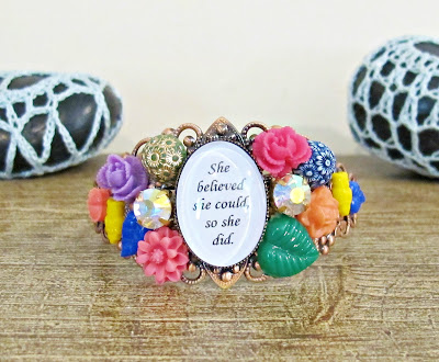 she believed she could so she did scoring wilder cuff bangle bracelet two cheeky monkeys floral botanical boho chic quote