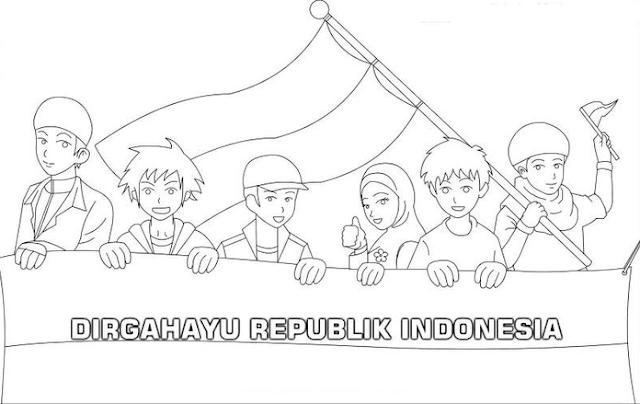 Gambar Mewarnai 17 Agustus Hari Kemerdekaan TK PAUD SD Terbaru