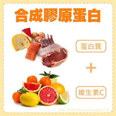 維生素C及蛋白質促使生成膠原蛋白