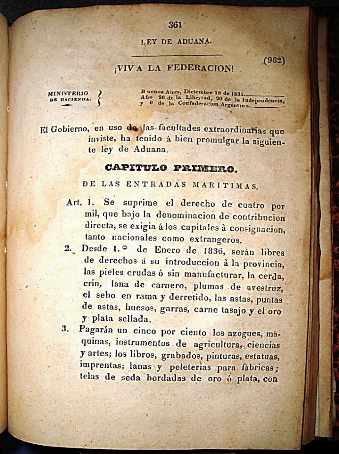Resultado de imagen para ley de aduana de 1835 objetivo