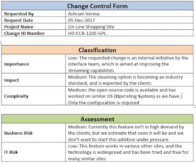 Change Control form Template