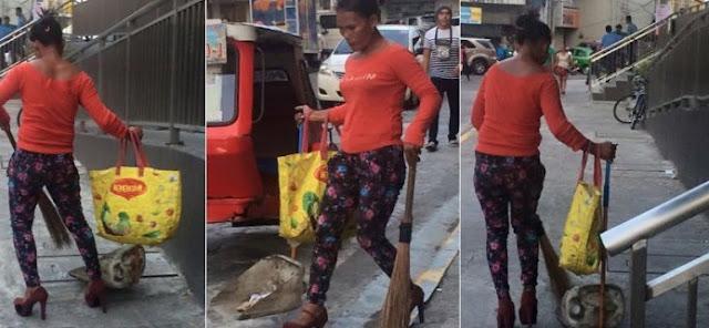 Tukang Sapu Ini Memakai High Heels Saat Bekerja Dijalanan, Tak Disangka Ribuan Netizen Memberikan...