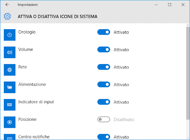 Windows 10 finestra Attiva o disattiva icone di sistema
