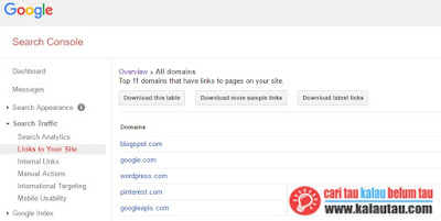 kalautau.com - Mengetahui Jumlah Backlink di Google webmaster