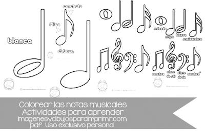colorear notas musicales