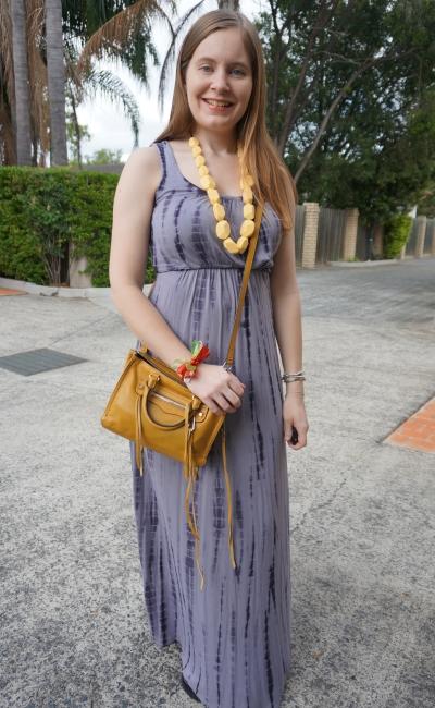 grey tie dye maxi dress empire waist with yellow accessories rebecca minkoff micro regan | awayfromblue