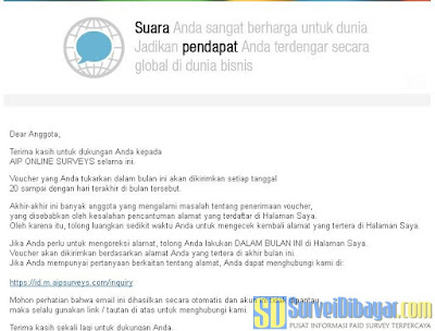 Pemberitahuan dari AIP Online Surveys untuk memeriksa alamat pengiriman hadiah | SurveiDibayar.com