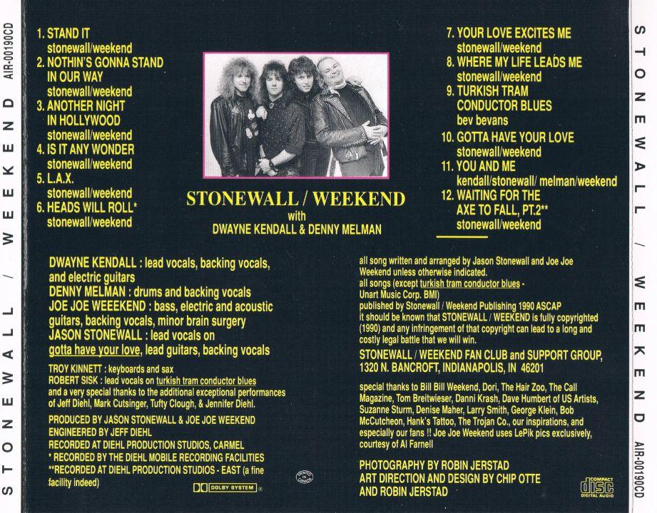 STONEWALL / WEEKEND - Stonewall / Weekend (1990) back