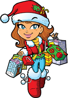 Clipart image of a girl in red doing her Christmas shopping