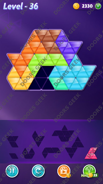 Block! Triangle Puzzle 8 Mania Level 36 Solution, Cheats, Walkthrough for Android, iPhone, iPad and iPod