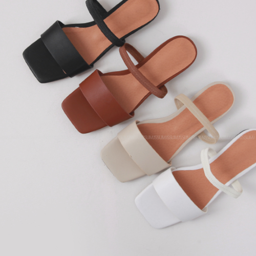 Open Square Toe Low Heel Sandals