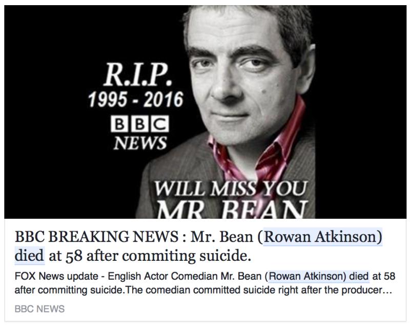AMEBOR TRENDS: Mr. Bean: Is Rowan Atkinson Dead?