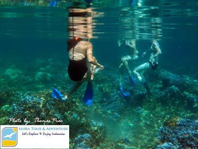 Bule Cakep happy snorkeling di Pulau Balak