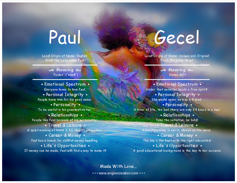 Paul and Gecel - Angies Creation Dual Names