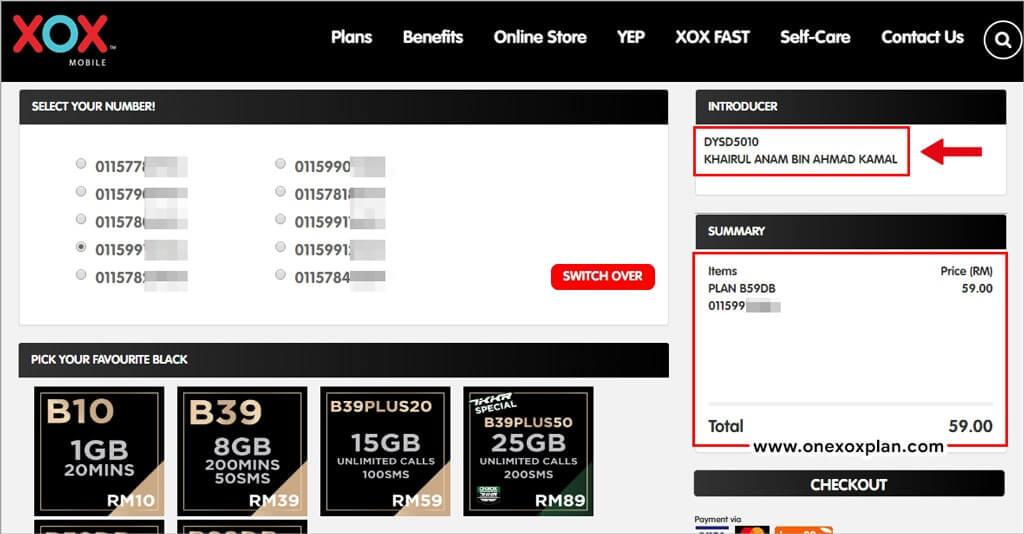 Beli Nombor Baru ONEXOX Black melalui Online Store