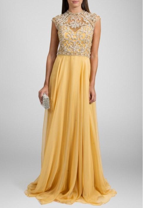 vestido de festa amarelo com bordado