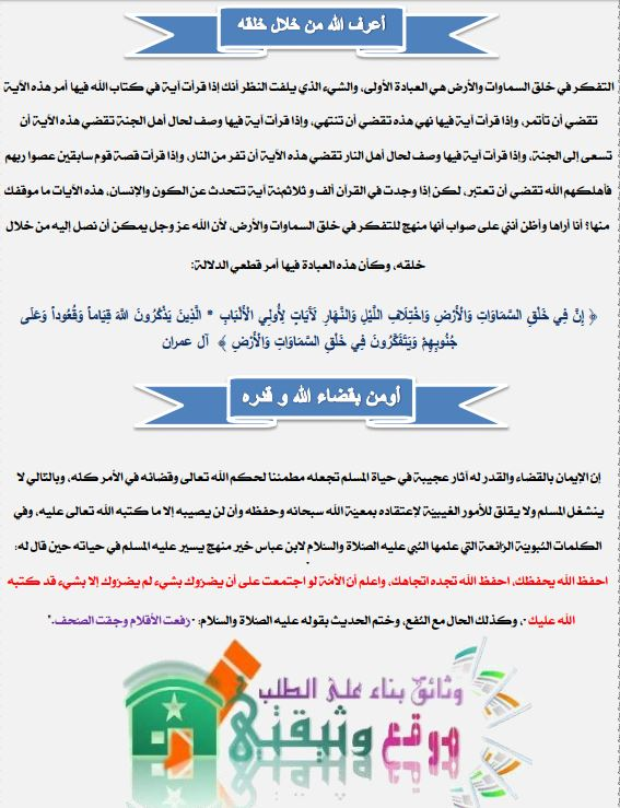 المستوى السادس ملخصات التربية الاسلامية وفق المنهاج الجديد