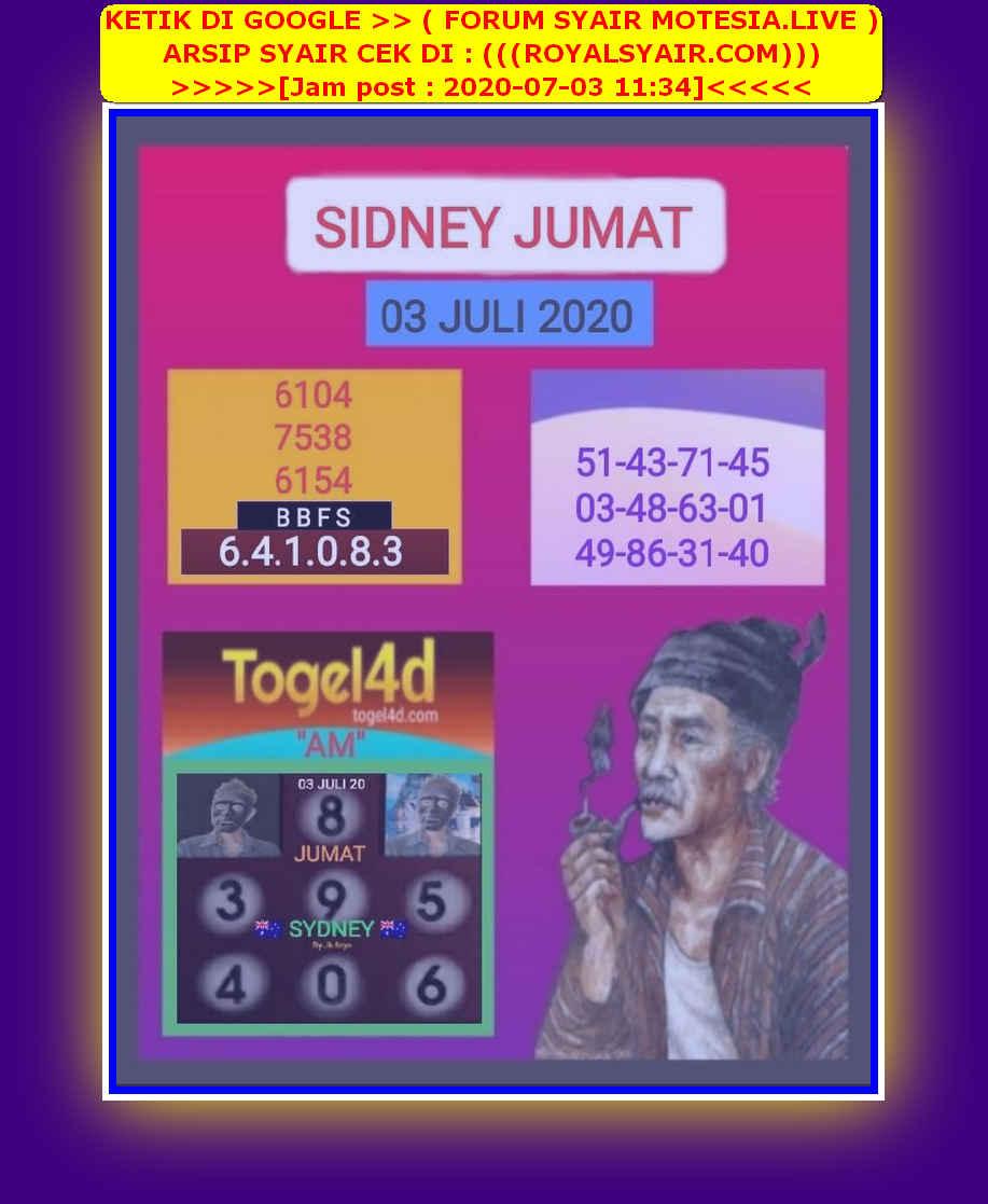Kode syair Sydney Jumat 3 Juli 2020 17