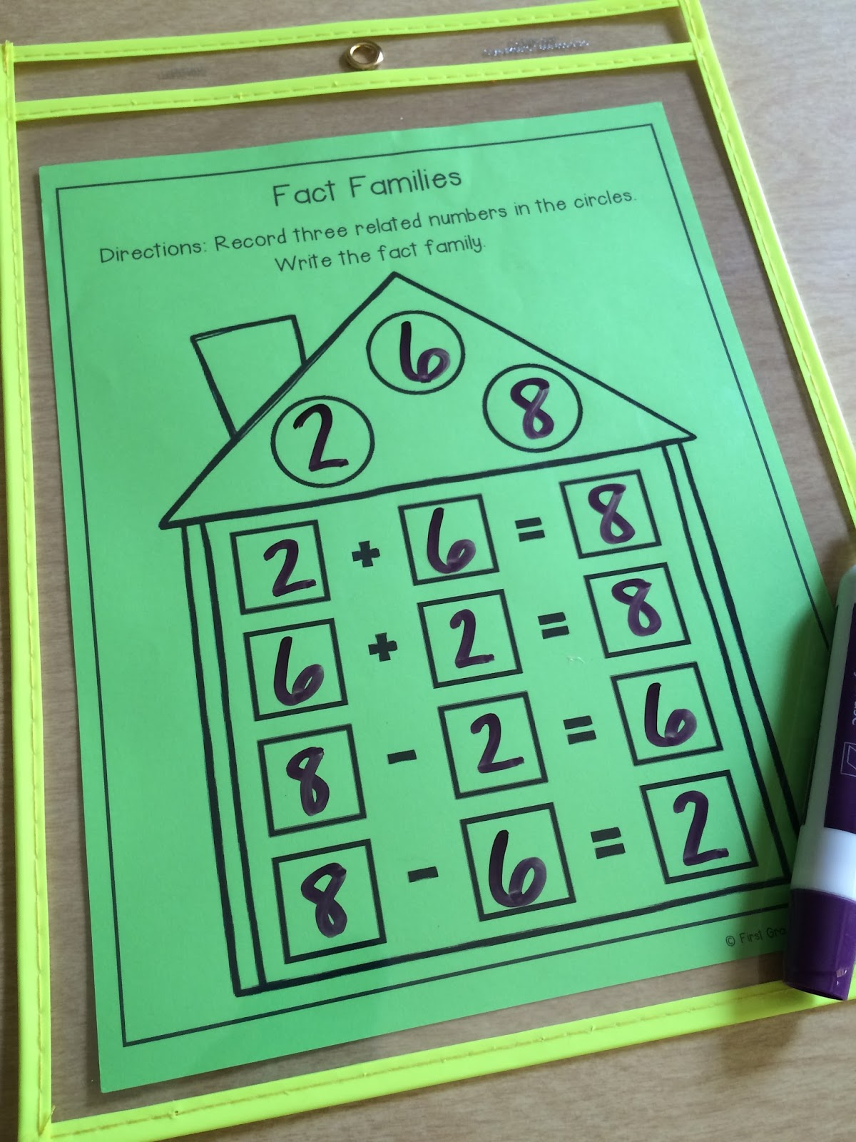 worksheet Fact Family Flash Cards math mats for first grade centers and more img 0103 jpg