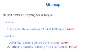 Cara Membuat Sitemap / Daftar Isi Otomatis dan Sederhana di Blogger