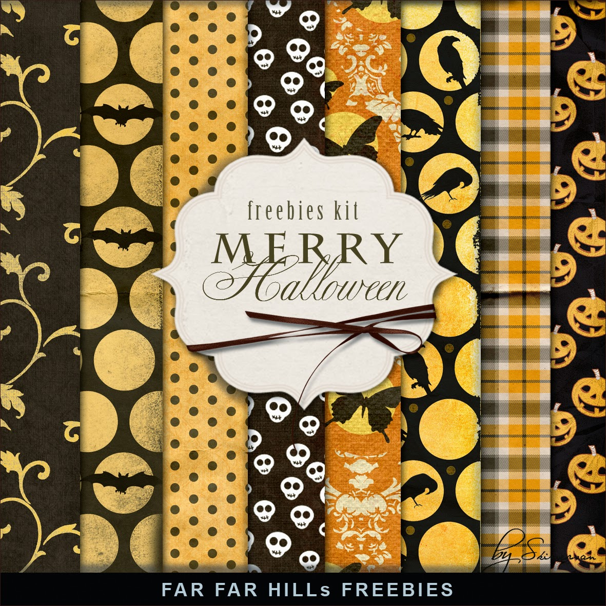 Freebies Kit of Paper - Merry Halloween.