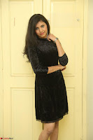 Mounika in a velvet short black dress for Tick Tack Movie Press Meet March 2017 094.JPG