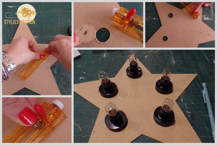 DIY para hacer una estrella de marquesina o marquee light. Es muy facil. Los circulos son para pasar los portalamparas y que la parte donde va la instalcion quede oculta atras del fondo de la estrella