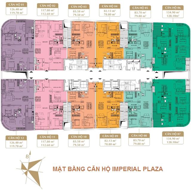 Mặt bằng Chung cư Imperial Plaza 360 Giải Phóng