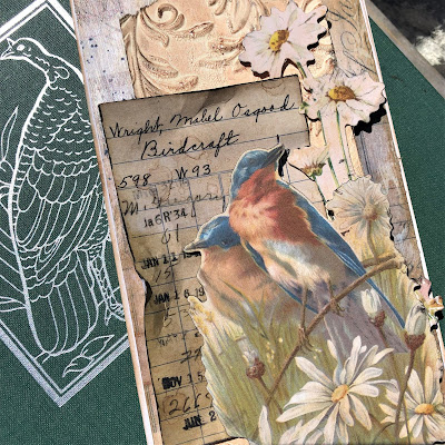 Sara Emily Barker https://sarascloset1.blogspot.com/2019/05/for-love-of-birds-vintage-card-for.html For the Love of Birds Vintage Card Tim Holtz Sizzix 3D Embossing  Ideaology Collage Paper & Ephemera 3