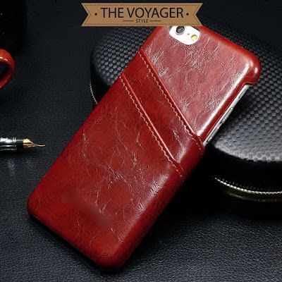 casing kulit sapi import leather case back cover iPhone 7 Plus with card slot asli vintage original premium