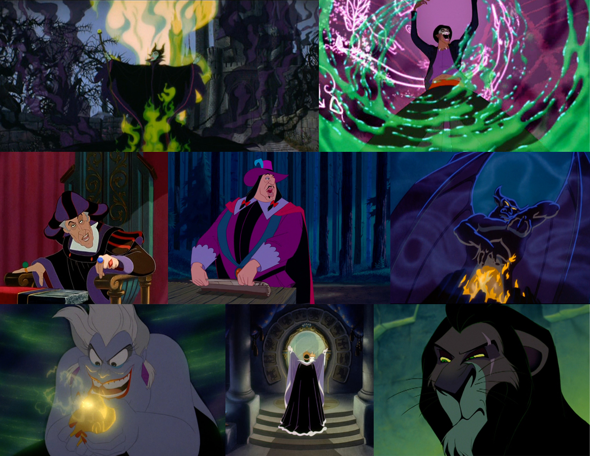 Disney Villains in black, purple, and green