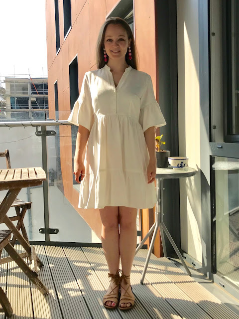 Diary of a Chain Stitcher: White Crinkled Double Viscose Deer & Doe Myosotis Dress