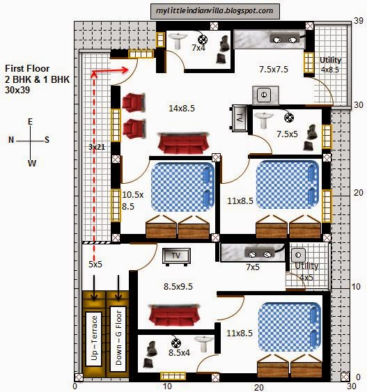 My Little Indian Villa 29R22 2BHK in 30x39 West facing – West Facing House Plans For 60X40 Site