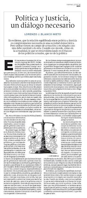 Política y justicia. Lorenzo J. Blanco HOY