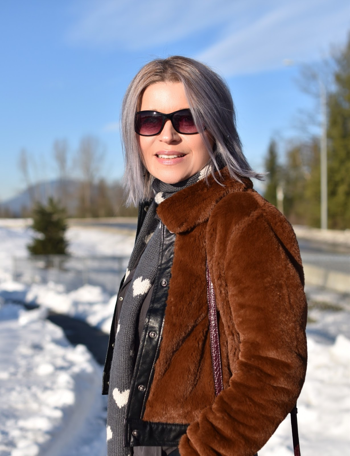 Monika Faulkner outfit inspiration - teddybear bomber jacket, heart-embellished scarf, sunglasses