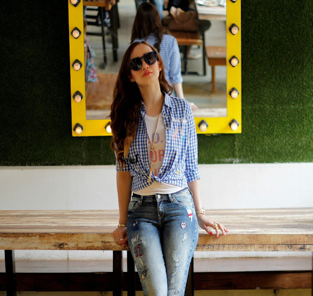 ONLY Knotted Up Check Shirt, Distressed Patch-work Jeans, Casual Chic Look, Light House Cafe Worli