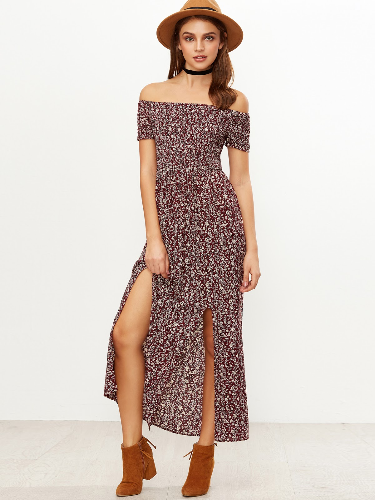 Shirred Off-The-Shoulder Slit-Front Floral Dress - Burgundy