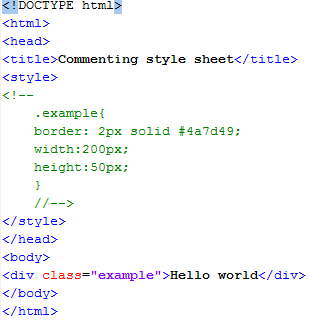 HTML Commenting Style Sheets