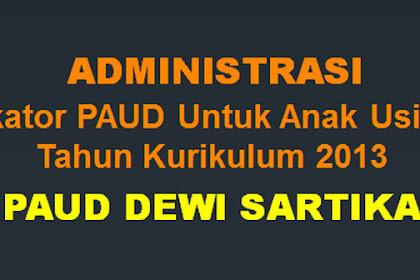 Administrasi Indikator PAUD Untuk Anak Usia 4-6 Tahun Kurikulum 2013