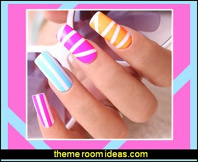 colorful nails-rainbow nails-nail design ideas