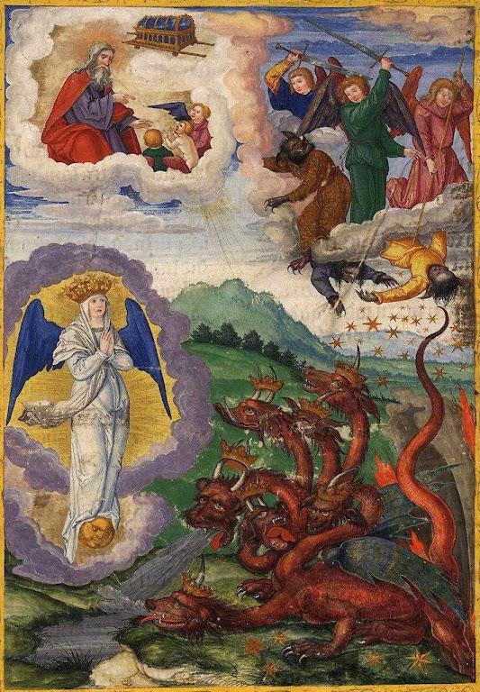 Apocalipse: o dragão tenta inutilmente devorar a mulher. Ottheinrich-Bibel, Bayerische Staatsbibliothek, gm8010, Folio295r