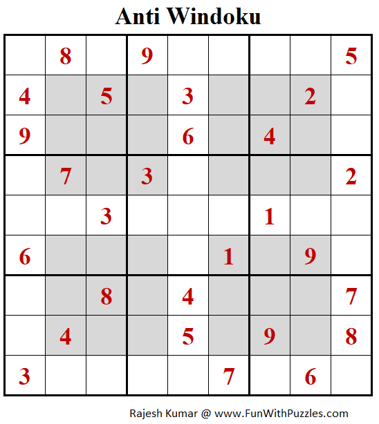 Anti Windoku Puzzle (Daily Sudoku League #209)