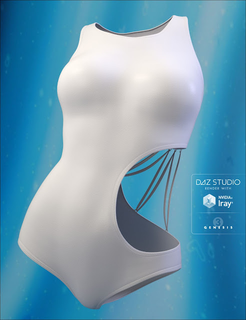 Wicked Strappy Swimsuit for Genesis 3 Female