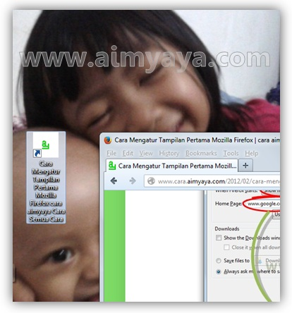 Gambar: Contoh shortcut alamat website di desktop komputer/laptop