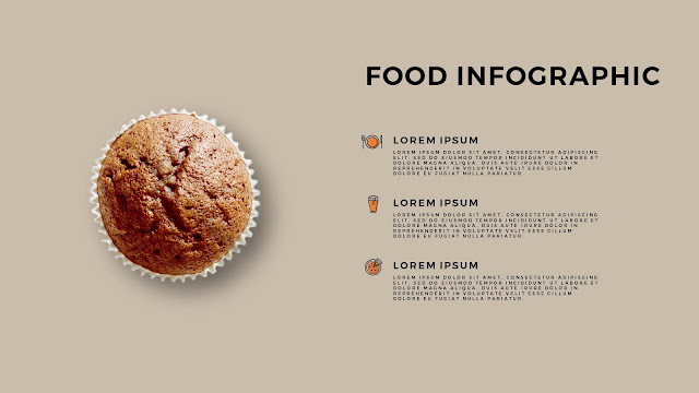 Food Infographic Pie Chart Elements for Powerpoint Template with Colored Background