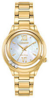 Citizen Eco-Drive Sunrise Women's Diamonds Gold-Tone 33mm Watch EM0512-58D